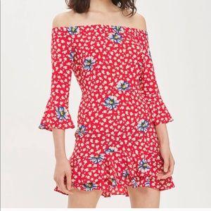 Topshop Bardot Floral Ruffle Off Shoulder Dress